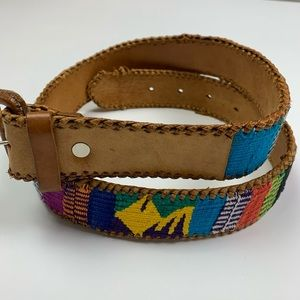 Vintage 90s Retro Aztec Western Lather Belt